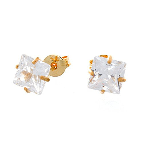 14K Gold Plated Earrings, Square Princess Cut Stud Earring, CZ Earrings with Posts, Women Jewelry - Pop Fashion