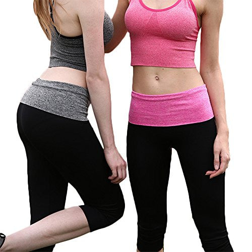 Womens Leggings, Sexy Tight Capri Yoga Pants for Workout with Print Waistband