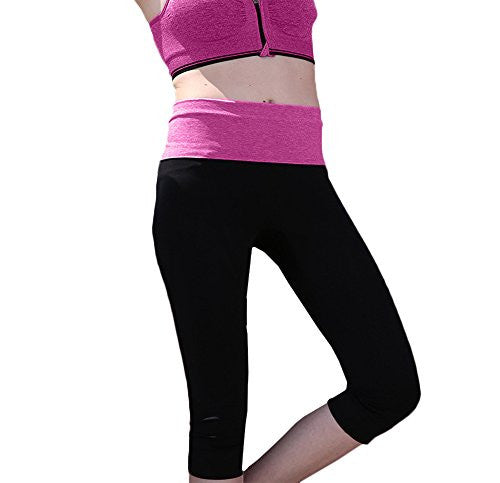 Womens Leggings, Sexy Tight Capri Yoga Pants for Workout with Print Waistband - Pop Fashion