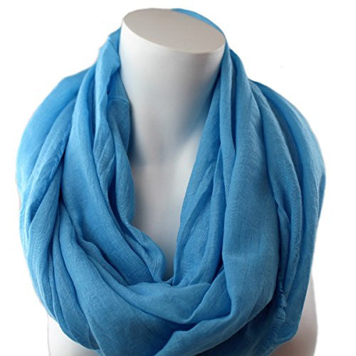 Pop Fashion Women's Solid Color Frayed Edge Luxury Infinity Scarf - 3 Color Options (Blue)