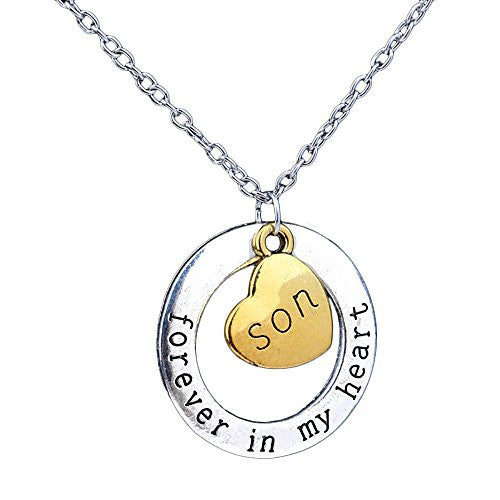 Son Necklace - Forever in my heart - Two-Toned Gold&Silvertone Charm Necklace with Engraved Message - Memory Charm - Pop Fashion