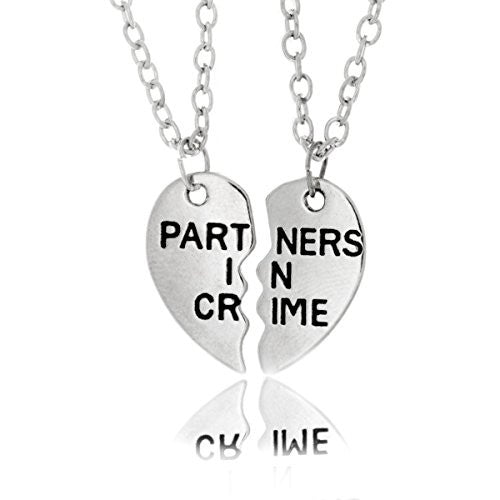 Partners in Crime Necklace, Split Two-Piece Chain Heart Pendant Silvertone Necklace - Pop Fashion