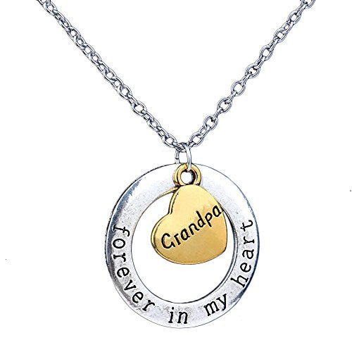 Grandpa Necklace - Forever in my heart - Two-Toned Gold&Silvertone Charm Necklace with Engraved Message - Memory Charm - Pop Fashion - Pop Fashion