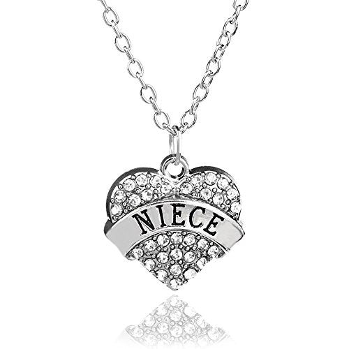 Niece Pendant Necklace in Silvertone with White Rhinestones- Charm Heart Necklace for Niece - Pop Fashion