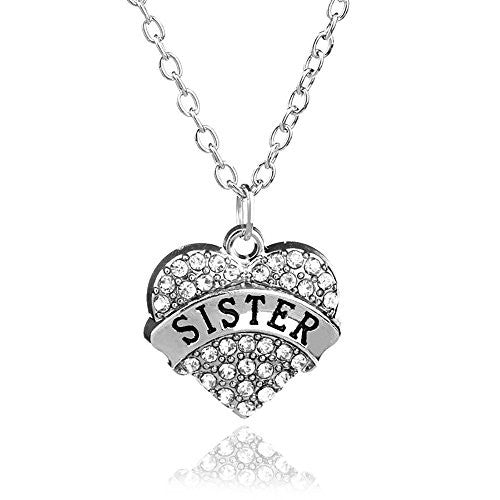 Sister Pendant Necklace in Silvertone with White Rhinestones - Charm Heart Necklace for Sister - Pop Fashion