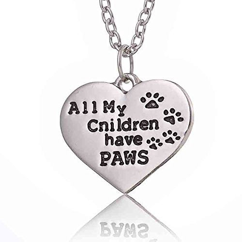 All My Children have PAWS - Silvertone Pet Lover's Engraved Heart Charm Necklace - Pop Fashion
