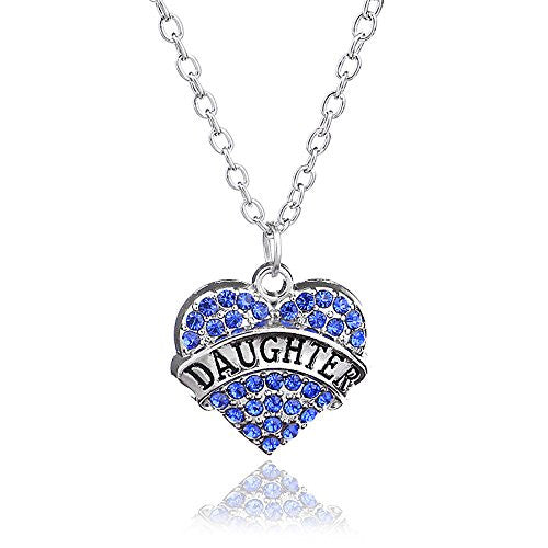Daughter Necklace in Silvertone with Blue Rhinestones - Charm Heart Necklace for Daughter - Pop Fashion - Pop Fashion