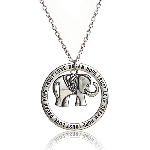 Love, Dream, Hope, Trust Engraved Necklace with Elephant pendant on silvertone chain- Pop Fashion