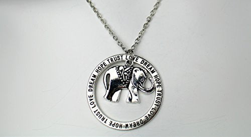 Love, Dream, Hope, Trust Engraved Necklace with Elephant pendant on silvertone chain- Pop Fashion - Pop Fashion