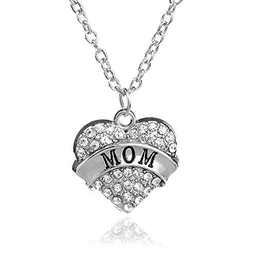 PopFashion Antique Silvertone with White Rhinestones - Charm Heart Necklace for Mom - Pop Fashion