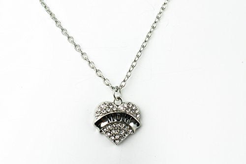 PopFashion Antique Silvertone with White Rhinestones - Charm Heart Necklace for Mom - Pop Fashion - Pop Fashion