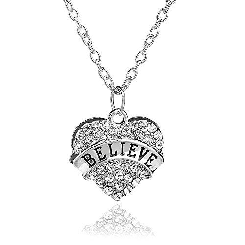 Believe Nacklace -Pendant Charm Necklace in Silvertone with White Rhinestones - Pop Fashion