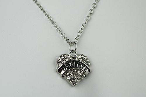 Believe Nacklace -Pendant Charm Necklace in Silvertone with White Rhinestones - Pop Fashion - Pop Fashion