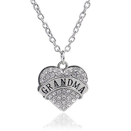 Grandma Pendant Necklace in Silvertone with White Rhinestones - Charm Heart Necklace for Grandma - Pop Fashion - Pop Fashion