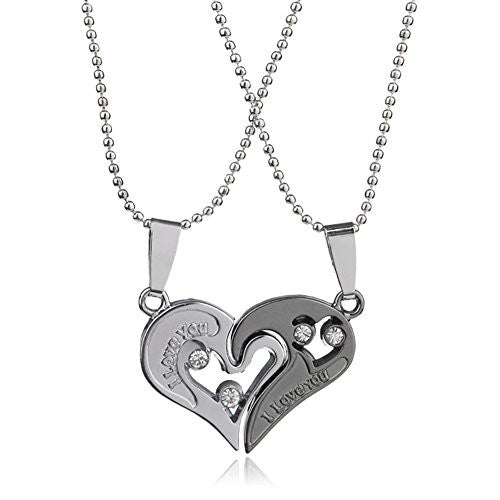 I Love you Necklace, Silvertone Heart Symbol with two piece Split Pendant Necklace - Pop Fashion