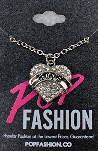 Hope Pendant Necklace in Silvertone with White Rhinestones - Charm Heart Necklace - Pop Fashion - Pop Fashion