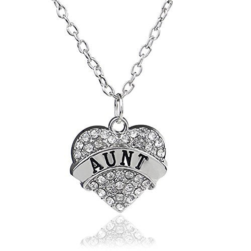 Aunt Pendant Necklace in Silvertone with White Rhinestones - Charm Heart Necklace for Aunt - Pop Fashion