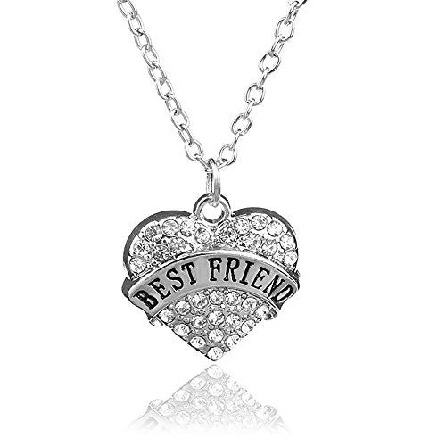 Best Friend Necklace - Pendant Necklace in Silvertone with White Rhinestones - Charm Heart Necklace - Pop Fashion
