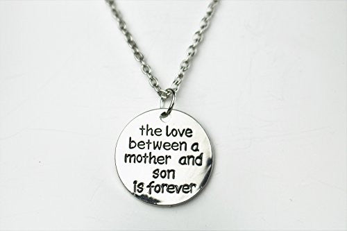 Mother and Son Necklace - Silvertone Charm Necklace with Engraved Message - Gift for Mom - Pop Fashion - Pop Fashion