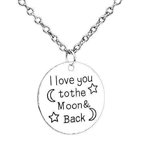 I love you to the moon and back silvertone necklace with engraved message on circle pendant - Pop Fashion