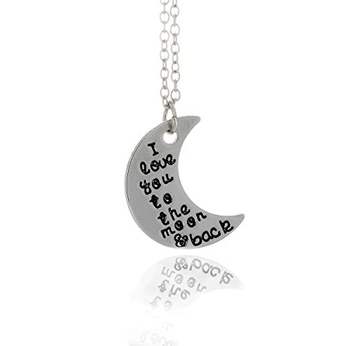 I love you to the moon and back silvertone Necklace with engraved message on crescent moon- Pop Fashion