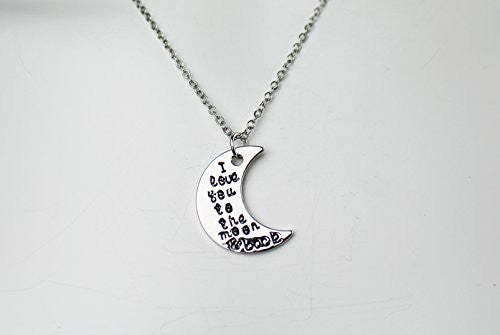 I love you to the moon and back silvertone Necklace with engraved message on crescent moon- Pop Fashion - Pop Fashion