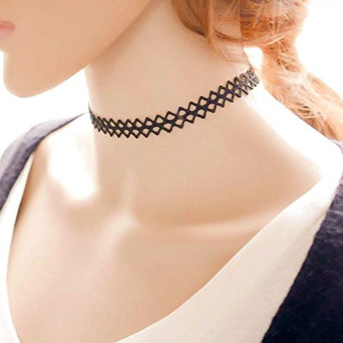 Choker Necklace with Henna Style Pattern in Black - Pop Fashion - Pop Fashion