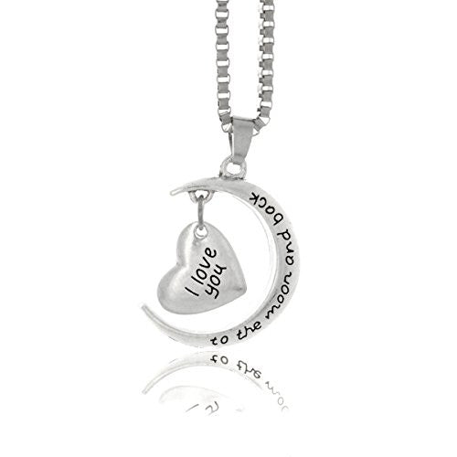 I Love You To The Moon and Back Necklace - Antique Silvertone Necklace with Engraved Message on Crescent Moon and Heart- Pop Fashion