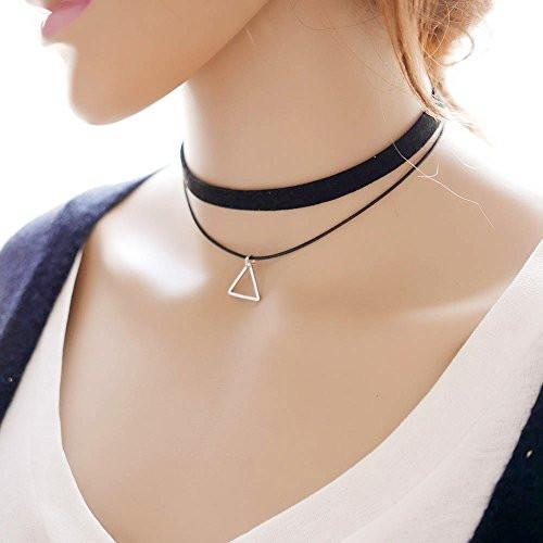 Classic Black Velvet Layered Choker Necklace with Triangle Charm - Pop Fashion