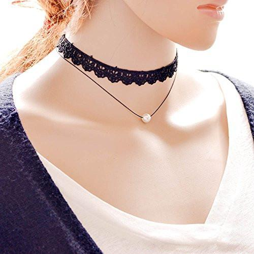 Classic Black Lace Choker Layered Necklace with Cultured Pearl - Pop Fashion - Pop Fashion