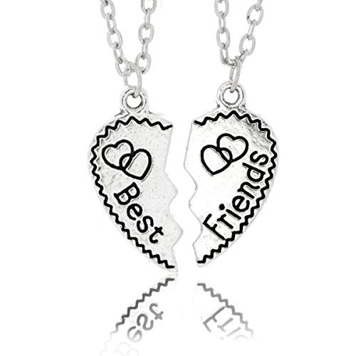 Best Friend Necklaces - Two Piece Silvertone Split Pendant with two chains - Engraved with Hearts- Pop Fashion
