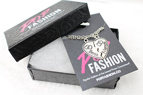 Best Friend Necklaces - Two Piece Silvertone Split Pendant with two chains - Engraved with Hearts- Pop Fashion - Pop Fashion