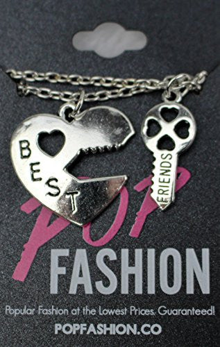 Lock and Key Necklaces - Antique Silvertone Lock and Key Split Pendant Best Friend Necklace- Pop Fashion - Pop Fashion