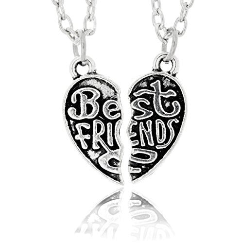 Best Friend Necklace - Two Piece Broken Heart Pendant with Chains - Engraved Split Necklace - Pop Fashion