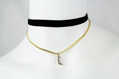 Black Velvet Choker Necklace with Gold Chain and Layered Charm - Pop Fashion - Pop Fashion