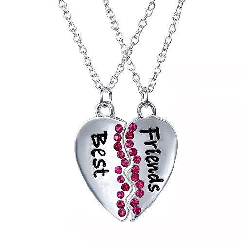 Best Friend two piece split necklace with Fuchsia Rhinestones and dual chains for sharing with Best Friend - Pop Fashion