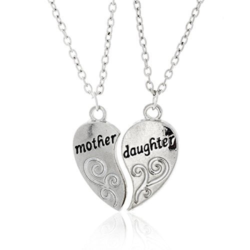 Mother and Daughter Necklaces - Antique Silvertone Split Pendant Necklace with Engraving- Pop Fashion