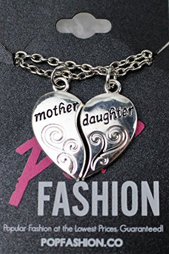 Mother and Daughter Necklaces - Antique Silvertone Split Pendant Necklace with Engraving- Pop Fashion - Pop Fashion