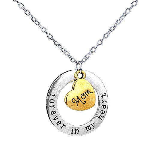 Mom Necklace - Forever in my heart - Two-Toned Gold&Silvertone Charm Necklace with Engraved Message - Memory Charm - Pop Fashion