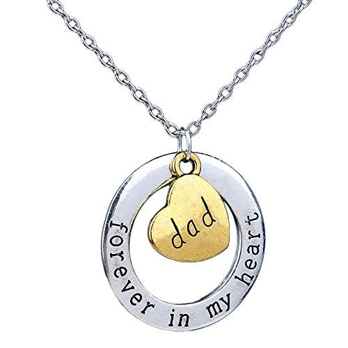 Dad Necklace - Forever in my heart - Two-Toned Gold&Silvertone Charm Necklace with Engraved Message - Memory Charm - Pop Fashion