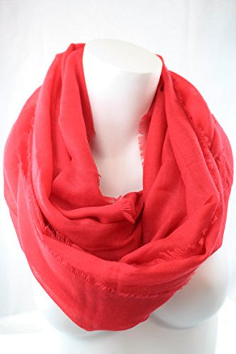 Pop Fashion Women's Solid Color Frayed Edge Luxury Infinity Scarf - 3 Color Options (Red)