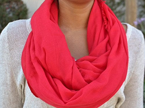 Pop Fashion Women's Solid Color Frayed Edge Luxury Infinity Scarf - 3 Color Options (Red) - Pop Fashion