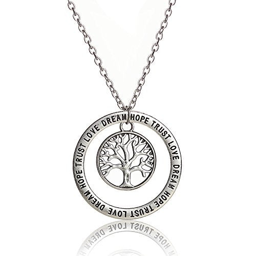 Love, Dream, Hope, Trust Engraved Necklace with Tree of life center pendant in silvertone - Pop Fashion