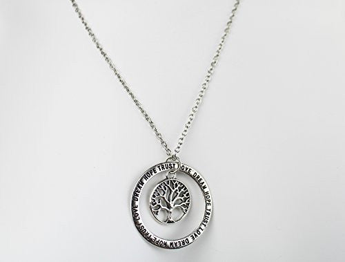 Love, Dream, Hope, Trust Engraved Necklace with Tree of life center pendant in silvertone - Pop Fashion - Pop Fashion