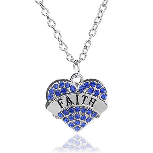 Faith Pendant Necklace in Silvertone with White Rhinestones -Charm Heart Necklace -Pop Fashion - Pop Fashion