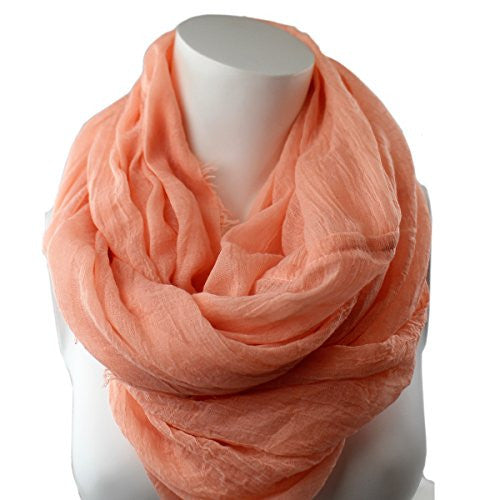 Pop Fashion Women's Solid Color Frayed Edge Luxury Infinity Scarf - 3 Color Options (Light Pink)