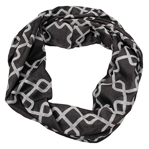 Womens Interlocking Chain Square Pattern Scarf w/ Zipper Pocket - Pop Fashion (Grey) - Pop Fashion