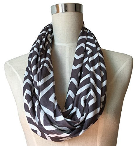 Womens Square Inside of Square Pattern Scarf w/ Zipper Pocket - Pop Fashion (Grey)