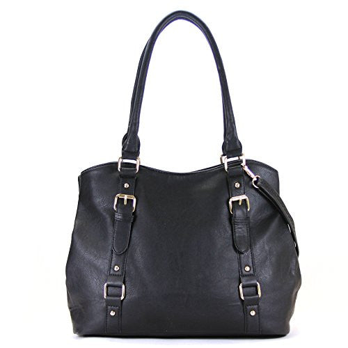 Pop Fashion Womens Casual Trendy Double Buckle Purse Handbag Tote Bag (Black)
