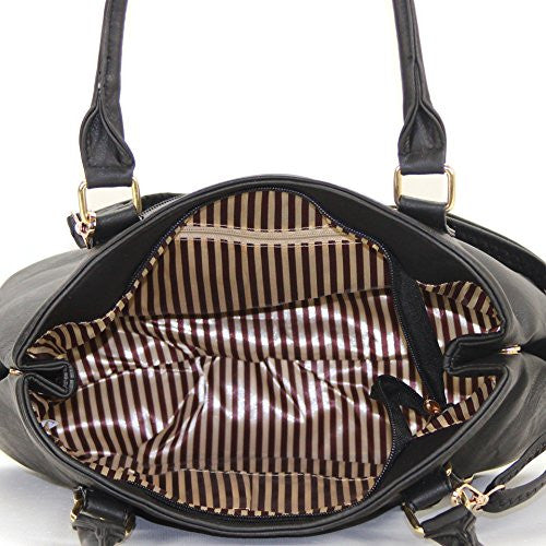 Pop Fashion Womens Casual Trendy Double Buckle Purse Handbag Tote Bag (Black) - Pop Fashion